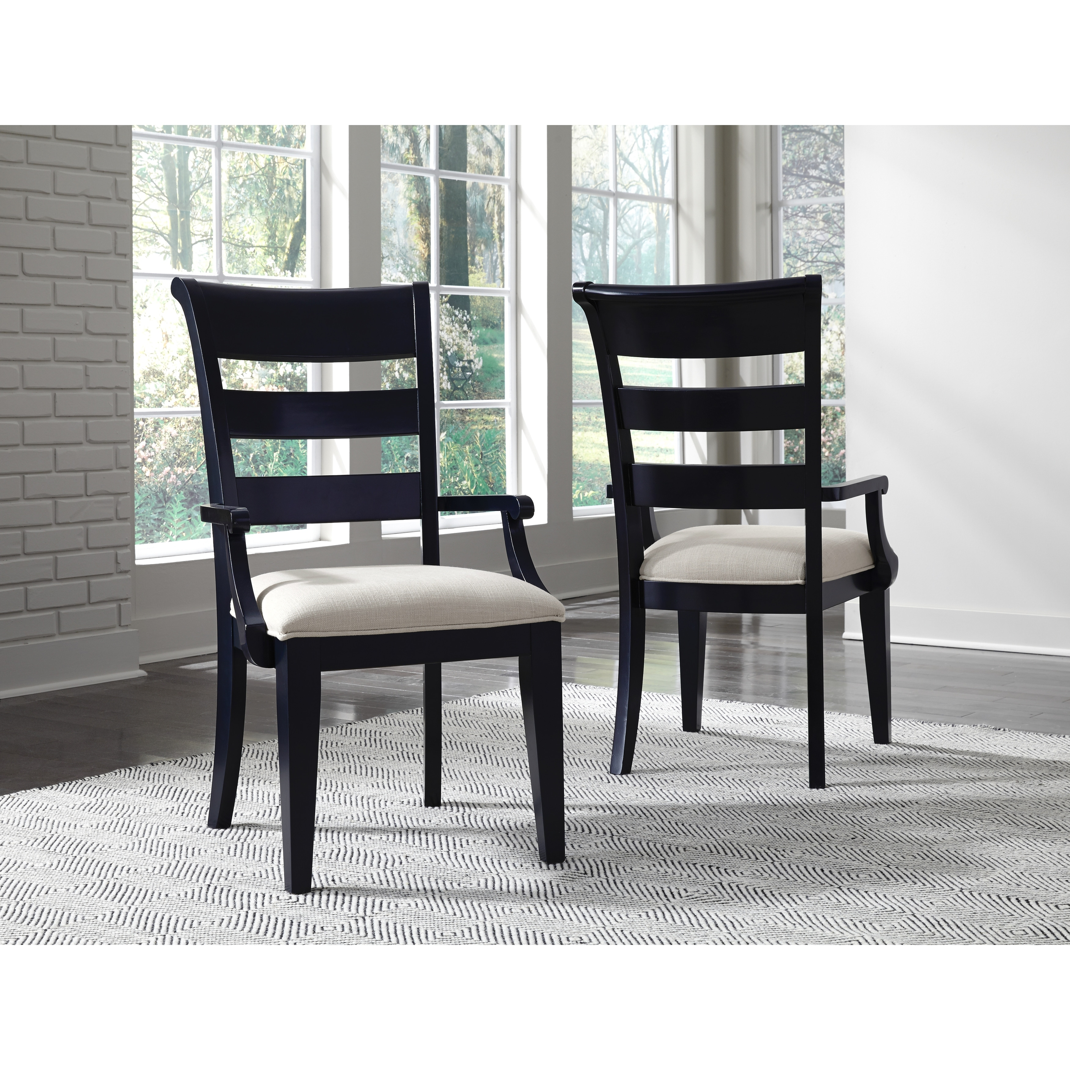 Breckenridge Upholstered Seat Slat Back Arm Chair Set Of 2 In Indigo Blue Finish Wood Overstock 32576395