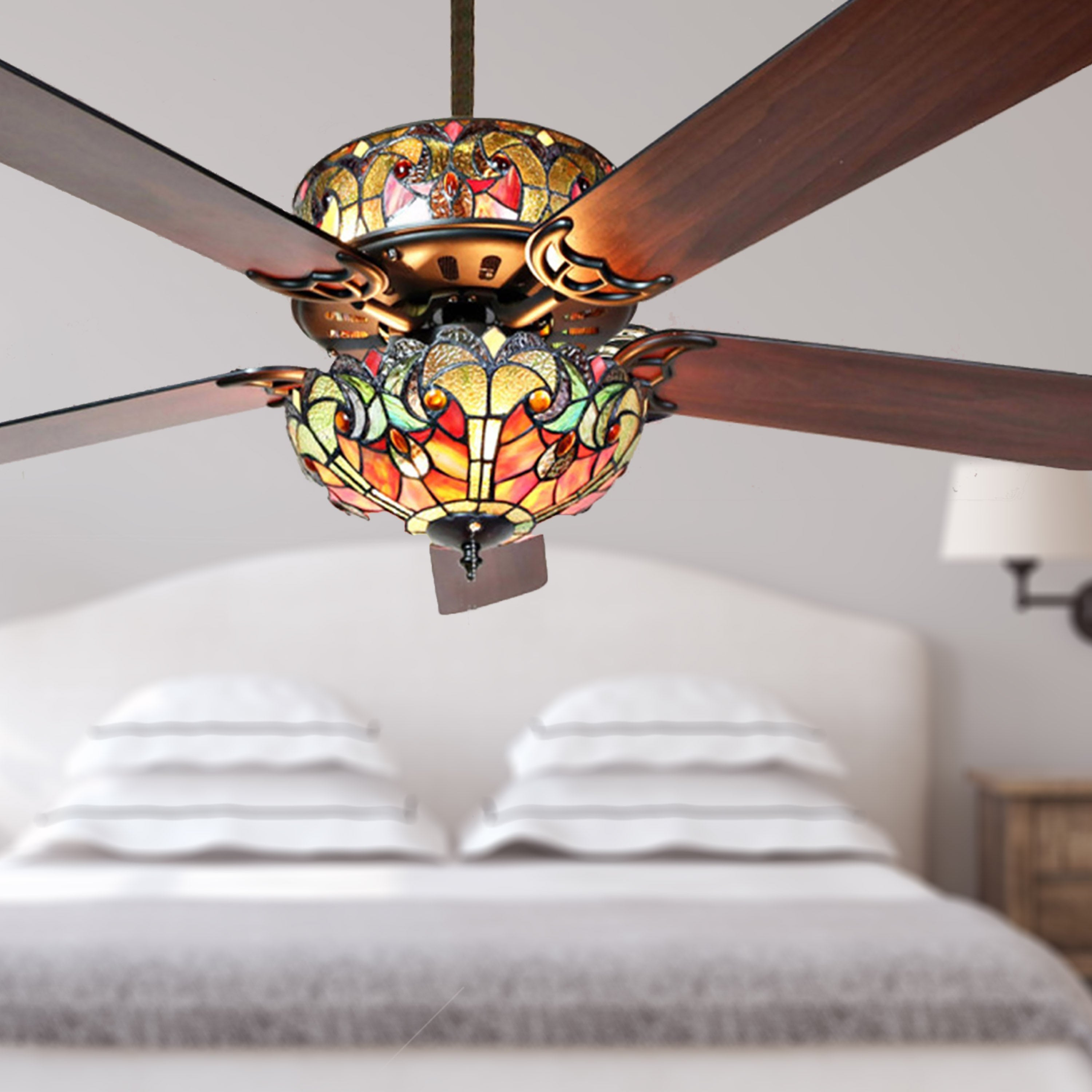 Tiffany Style Stained Glass Halston Ceiling Fan Spice 52 L X 52 W X 19 H 52 L X 52 W X 19 H On Sale Overstock 16105878 Pull Chain