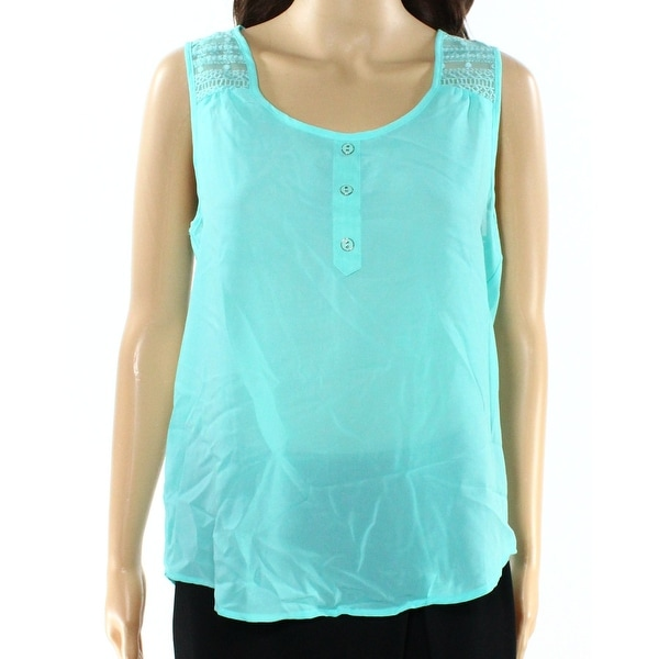 0e2d191d2ef5ce Shop Mine NEW Aqua Green Size Medium M Junior Lace Faux-Henley Tank Top -  Free Shipping On Orders Over  45 - Overstock.com - 17786981