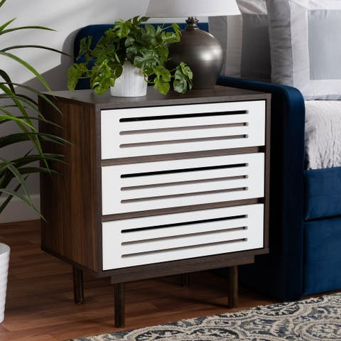 Meike Mid-Century Modern Two-Tone 3-Drawer Nightstand