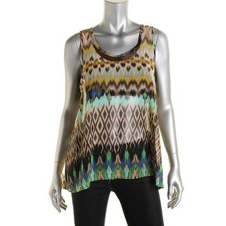 Status by Chenault Womens Chiffon Beaded Tank Top