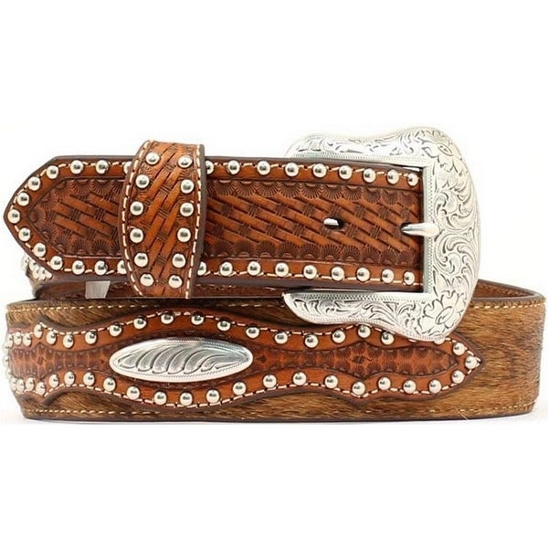 Nocona Western Belt Mens Leather Hair Studded Rich Earth