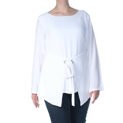 Verona Womens Blouse Bright White Size Small S Tie Belt Long Sleeve