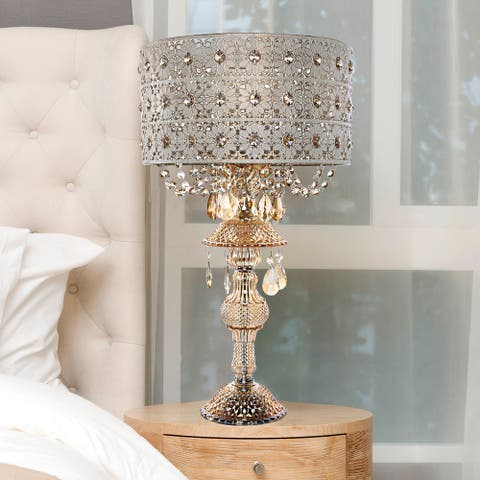 """Silver Orchid White Champagne Glass and Metal Table Lamp - 13.875""""L x 13.875""""W x 24""""H"""