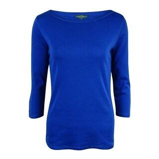 LRL Lauren Jeans Co. Women's Laced-Sleeves Bateau Knit Top