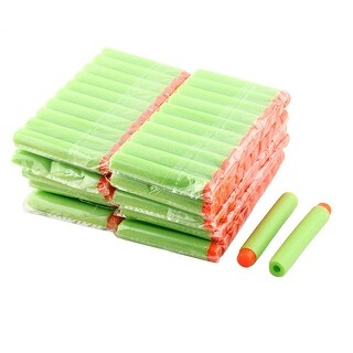 Outdoor Toy Soft Hollow Hole Head Foam Refill Darts Green 7.2 x 1.2cm 100 Pcs