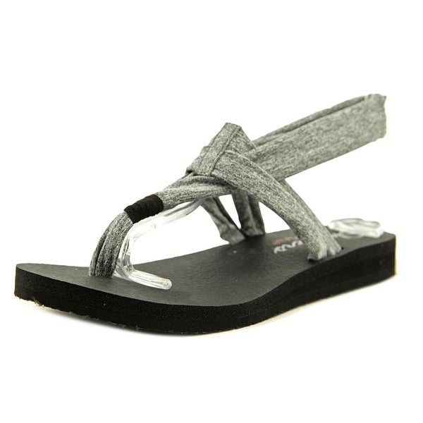 Skechers Meditation Studio Kicks Women Open Toe Canvas Gray Thong Sandal