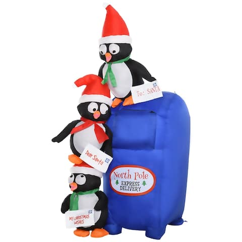 HOMCOM 6' Christmas Inflatable Penguins Mailbox Scene Holiday Yard Lawn Decoration with LED Lights Indoor Outdoor Blow Up Decor