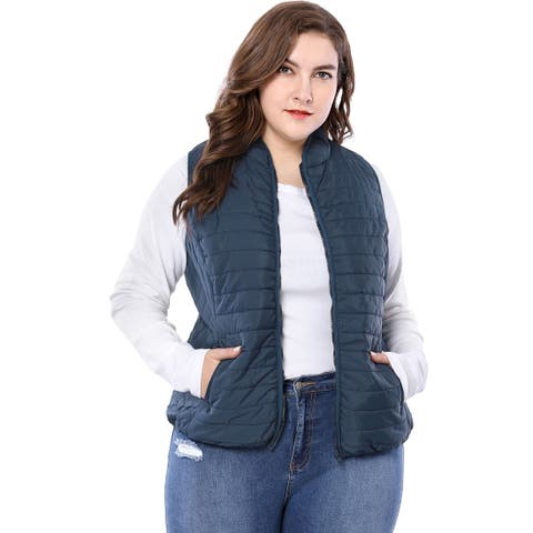 Allegra K Women's Plus Size Zip Up Stand Collar Quilted Padded Vest