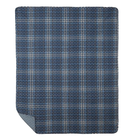 Anthony Navy Quilted Cotton Throw Blanket