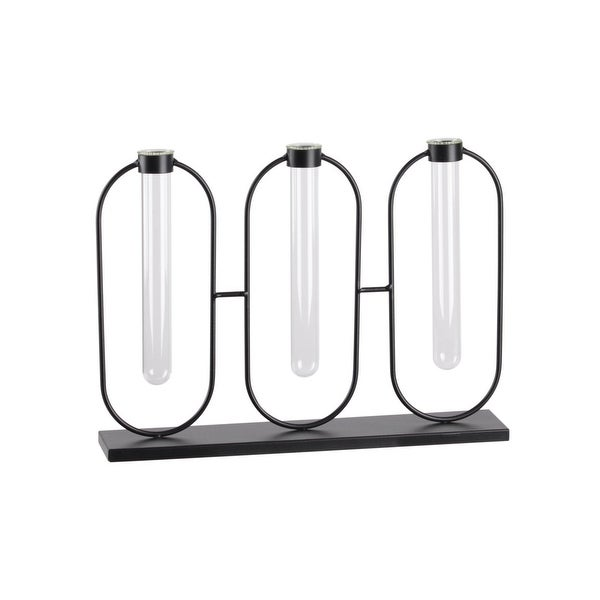 Urban Trends Metal Clustered Bud Vase Holder with 3 Small Glass Tube Vases, Coated Finish - Black