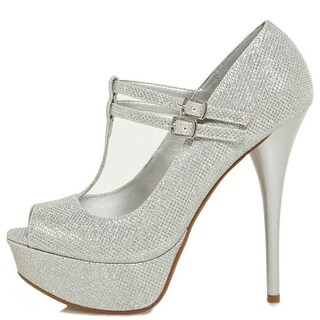 Qupid Women's Neutral-443 High Heel Glitter Pumps Shoes - Silver Glitter (3 options available)