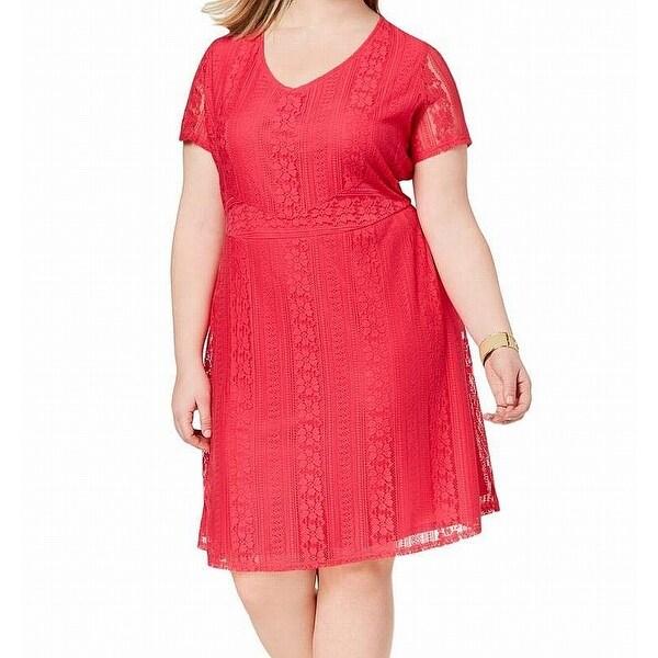 Ny Collection Pink Women's Size 2X Plus Lace V-Neck A-Line Dress
