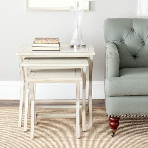 "SAFAVIEH Sete Antiqued White Birch Nesting Tables (Set of 3) - 24.4"" x 16.5"" x 23.8"""