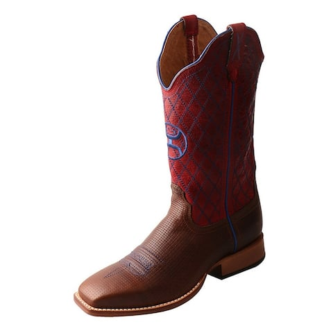 HOOey Western Boots Womens Gold Buckle Block WS Toe Tawny Red