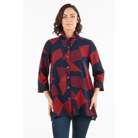 Women's Geometric Navy/Red 3/4 Sleeves Button-Down Top Jacket