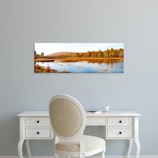 Easy Art Prints Panoramic Image 'Trees with pond in autumn, Alger County, Upper Peninsula, Michigan, USA' Canvas Art