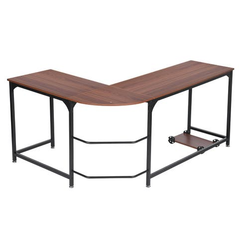 Small/Large Size L-Shape Corner Computer Desk Wood Steel Laptop Table Workstation Home Office