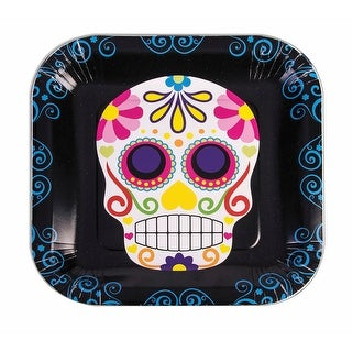 """Day Of The Dead 9"""" Square Disposable Plate 8 Pack - Black"""