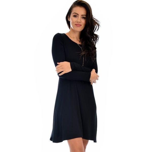 0c507cc1237 Shop Shift & Shout Long Sleeve Black Tunic Dress-Black-Large - Free  Shipping On Orders Over $45 - Overstock - 23109912