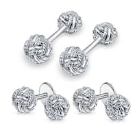 Bling Jewelry 925 Silver Double Woven Love Knot Cufflinks and Studs Set
