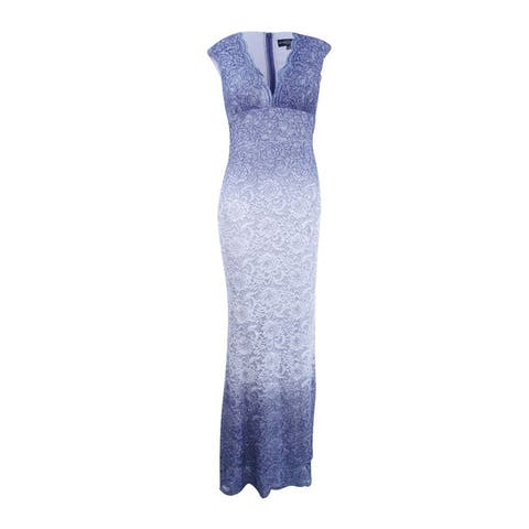 Betsy & Adam Women's Ombre Glitter Lace Gown