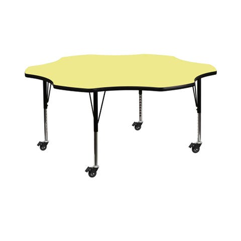 """Offex 60"""" Mobile Flower Shaped Activity Table with Yellow Thermal Fused Laminate Top and Height Adjustable Pre-School Legs - N/A"""