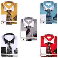 Men's Variegated Satin Stripe Dress Shirt with Tie Hanky and Cufflinks