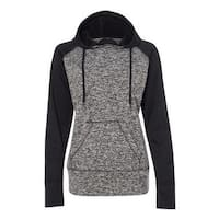 Women's  Colorblock Cosmic Fleece Hooded Pullover Sweatshirt - Charcoal Fleck/ Black - L