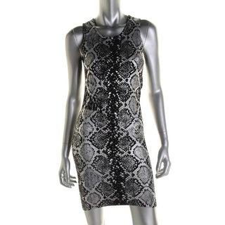 Parker Womens Foiled Snake Print Sleeveless Sweaterdress - S