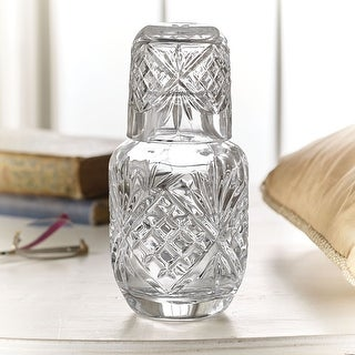 Godinger Crystal Dublin Pattern Bedside Carafe Set - Cut Crystal Container with Matching Tumbler - Drinkware