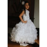 Angels Garment White Sequin Organza Ruffle Pageant Dress Girls 5-10
