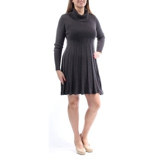 Womens Gray Long Sleeve Above The Knee Pleated Dress Size: L