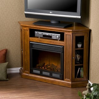 Southern Enterprises FE9316 Claremont Convertible Media Electric Fireplace - Brown Maho - Mahogany