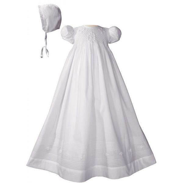0bc1c88303d2 Baby Girls White Cotton Hand Smocked Embroidered Bonnet Christening Gown