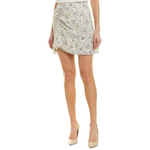Derek Lam 10 Crosby Ruched Silk A-Line Skirt
