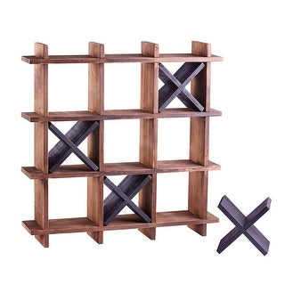 Art & Artifact Tic-Tac-Toe Toilet Paper Holder - Freestanding or Wall Mount Solid Wood Bathroom Decor Game