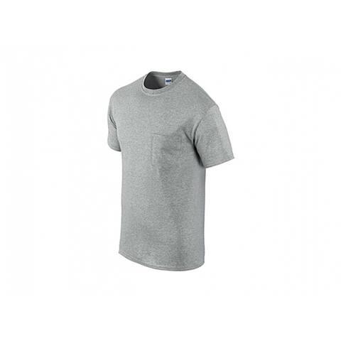 Gildan G205340SG-M Men's Short Sleeve Pocket Tee Shirt, Medium, Sport Gray, 2-Pk