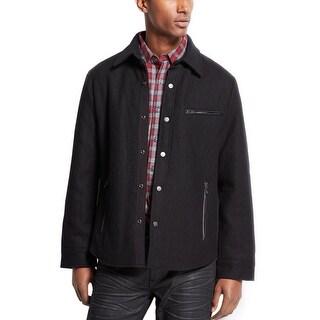 INC International Concepts Mens Black Wool Blend Quilted Jacket Size Medium