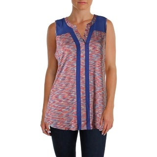 Cable & Gauge Womens Stretch Mesh Inset Henley Top