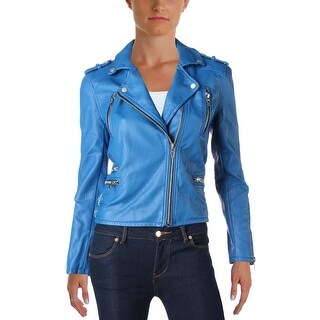 Blank NYC Womens Motorcycle Jacket Faux Leather Long Sleeves