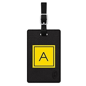 Centon Electronics - Otm Monogram Black Leather Bag Tag, Inversed, Electric - A