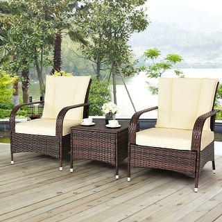 Costway 3PCS Outdoor Patio Mix Brown Rattan Wicker Furniture Set Seat Cushioned Beige