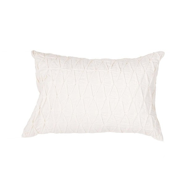 "20"" Ivory White Solid Rectangular Decorative Throw Pillow"
