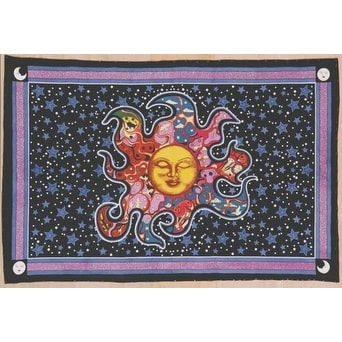 "Handmade Smiling Sun Moon Star Divine Spiritual Yoga Tapestry Cotton Tablecloth Coverlet 55""x85"""