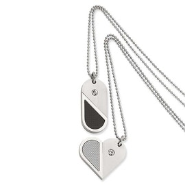 Chisel Stainless Steel Dogtag Heart Convertible Pendant Necklace (2 mm) - 22 in