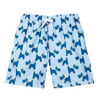 Azul Little Boys Blue Scotty Dog Drawstring Tie Lined Swimwear Shorts