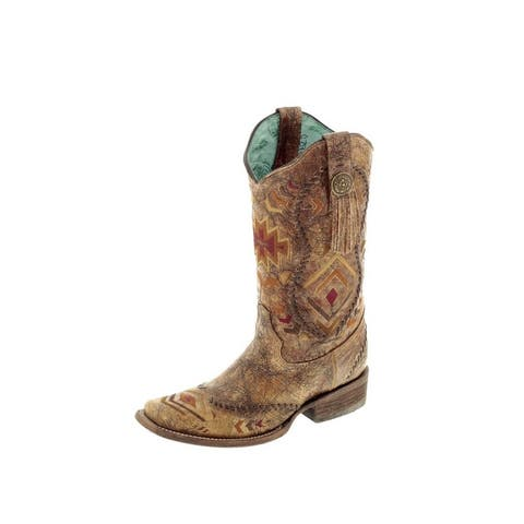 Corral Western Boots Womens Aztec Embroidery Square Cowboy Heel