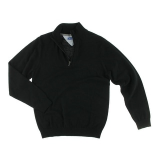 Report Collection Mens Solid 1/4 Zip Funnel-Neck Sweater