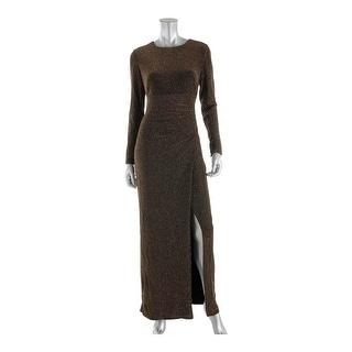 Lauren Ralph Lauren Womens Metallic Faux-Wrap Evening Dress - 10